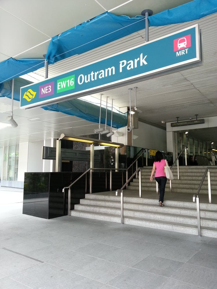 Outram Park MRT Station (EW16/NE3) a stone's throw away from One Pearl Bank
