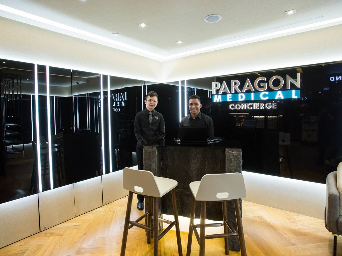The concierge at Paragon Medical Centre, which is connected with Paragon Mall