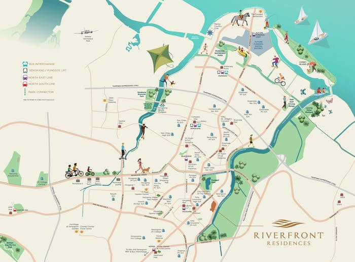 Map view of parks within Riverfront Residences vicinity