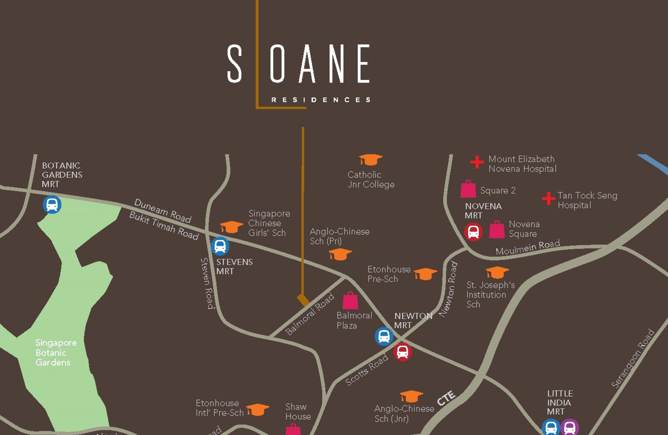 Map of the vicinity around Sloane Residences