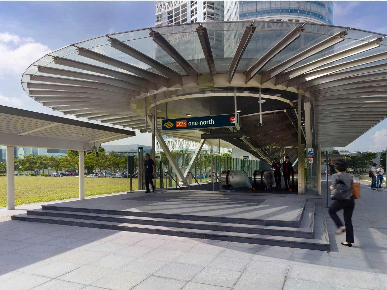 one-north MRT Station is not only near One-North Eden, it also contains many cafes, a supermarket and a big Koufu food court outisde the station!