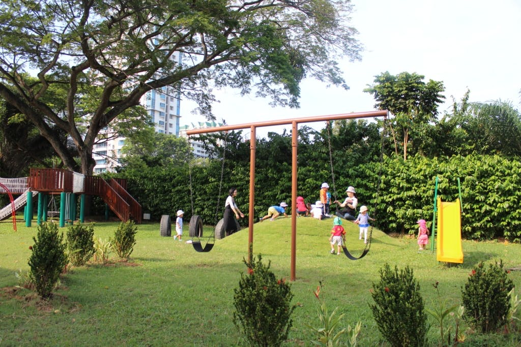Children from EtonHouse Mountbatten 717 playing in its Outdoor Playground