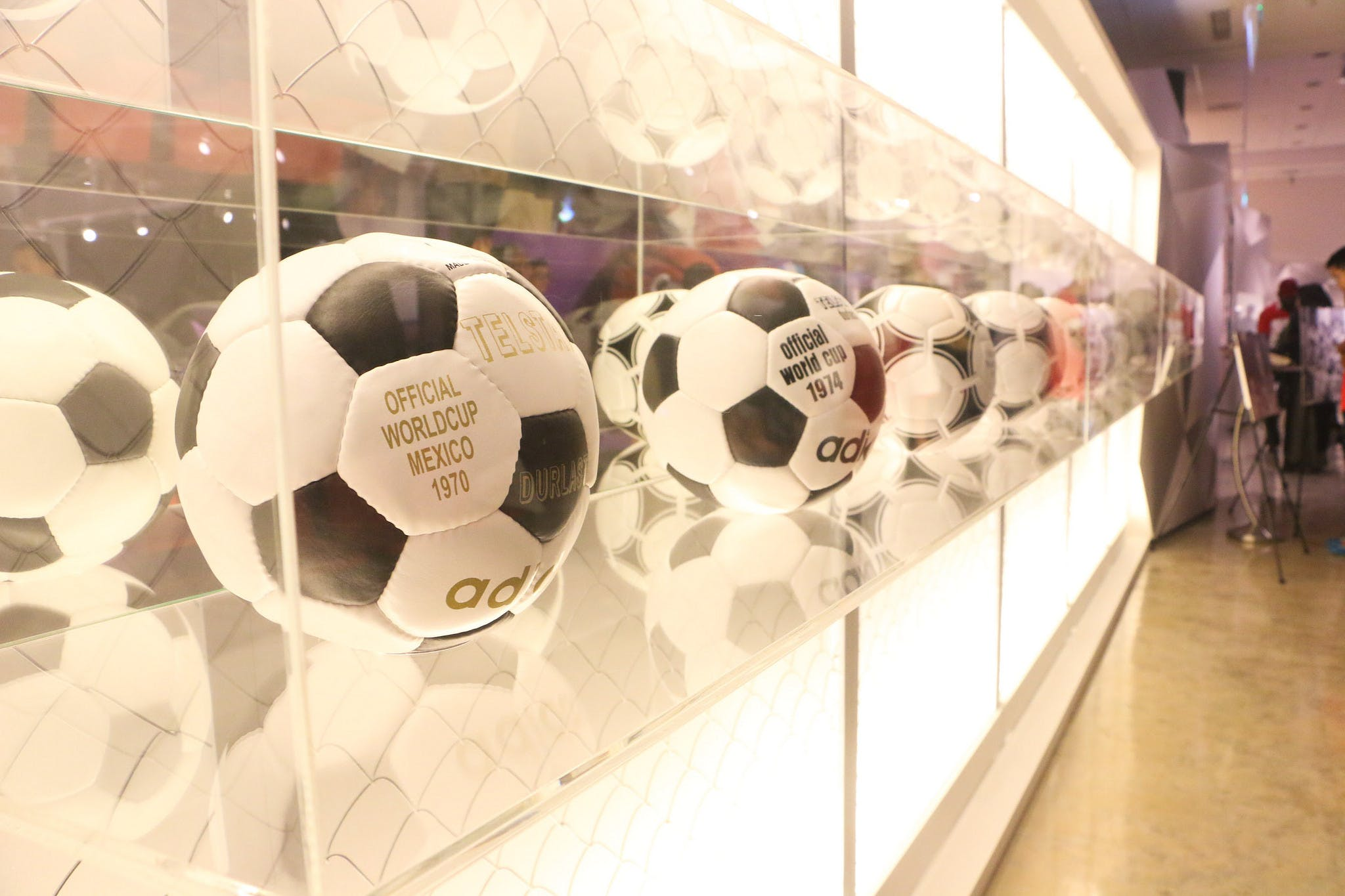 Iconic footballs in the Singapore Sports museum. An Adidas ball from the official World Cup Mexico 1970.