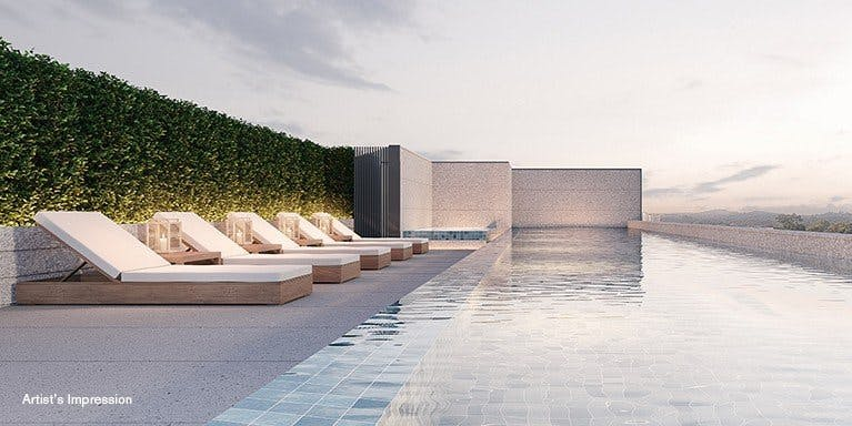 A relaxation pool at 19 Nassim.