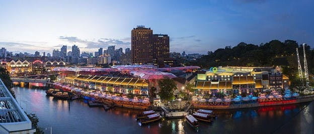 Canninghill Square overlooks the spread of restaurants and bars at Clarke Quay, which is known for its bustling nightlife scene.
