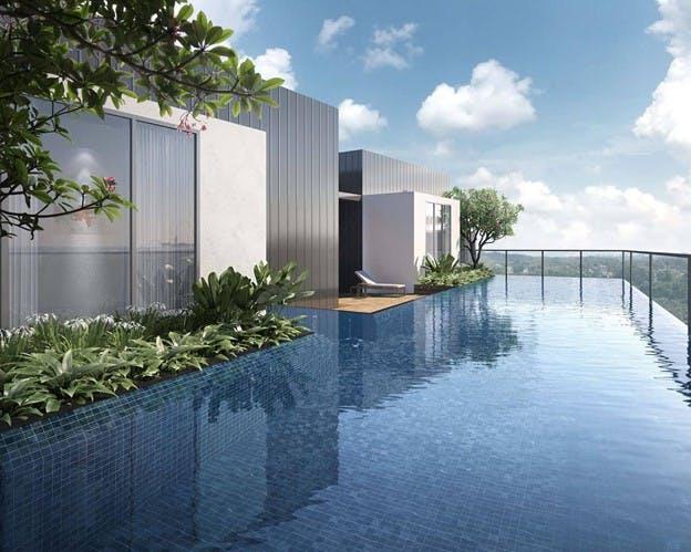 The wonderful rooftop pool at J@63 enjoys an unblocked view of the upscale Telok Kurau estate.