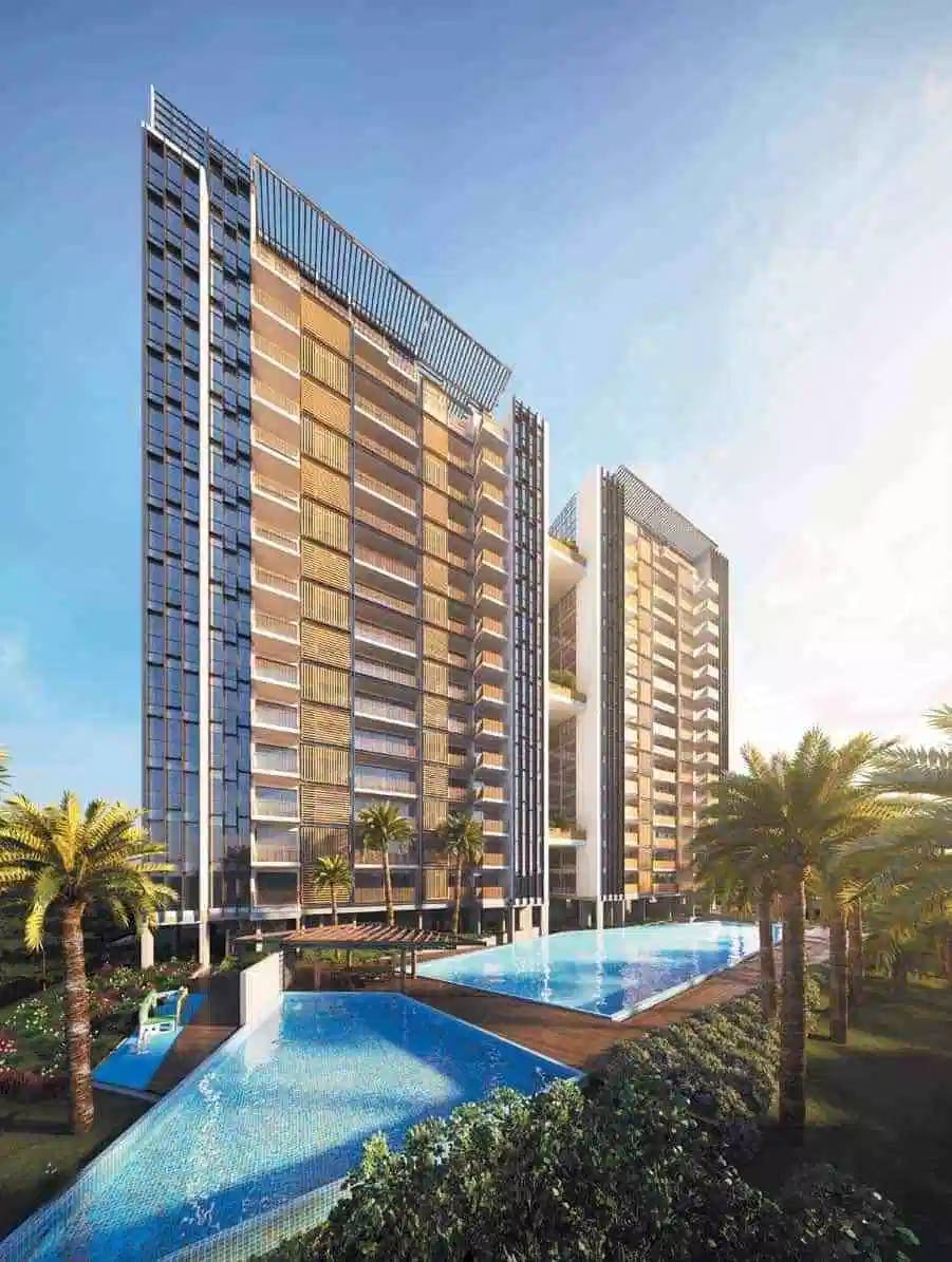 A wide shot of the natural features and swimming pool that TRE Residences has to offer.