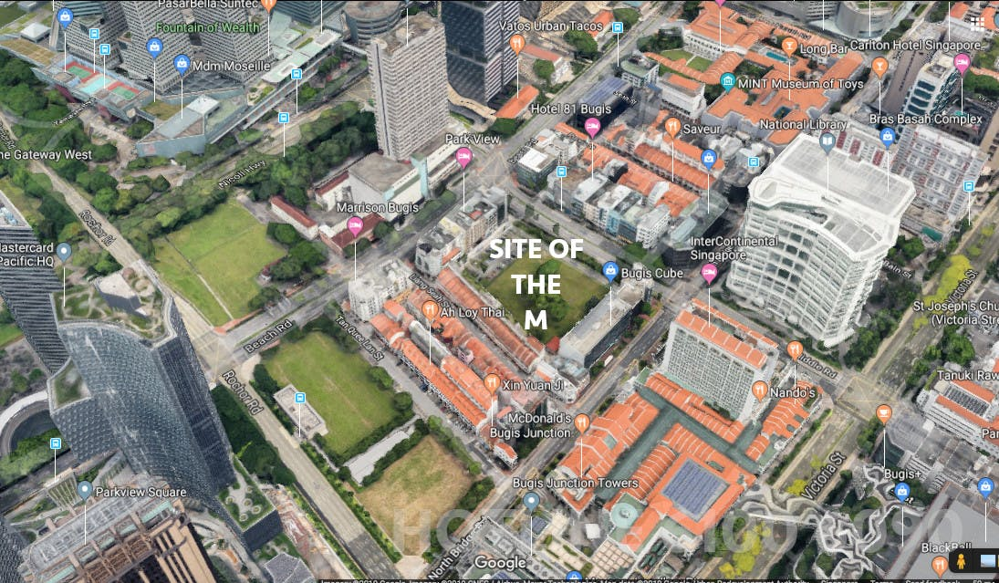 A Google Street View screenshot of The M displays exactly how close it is to Bugis, which is an immensely accessible area.