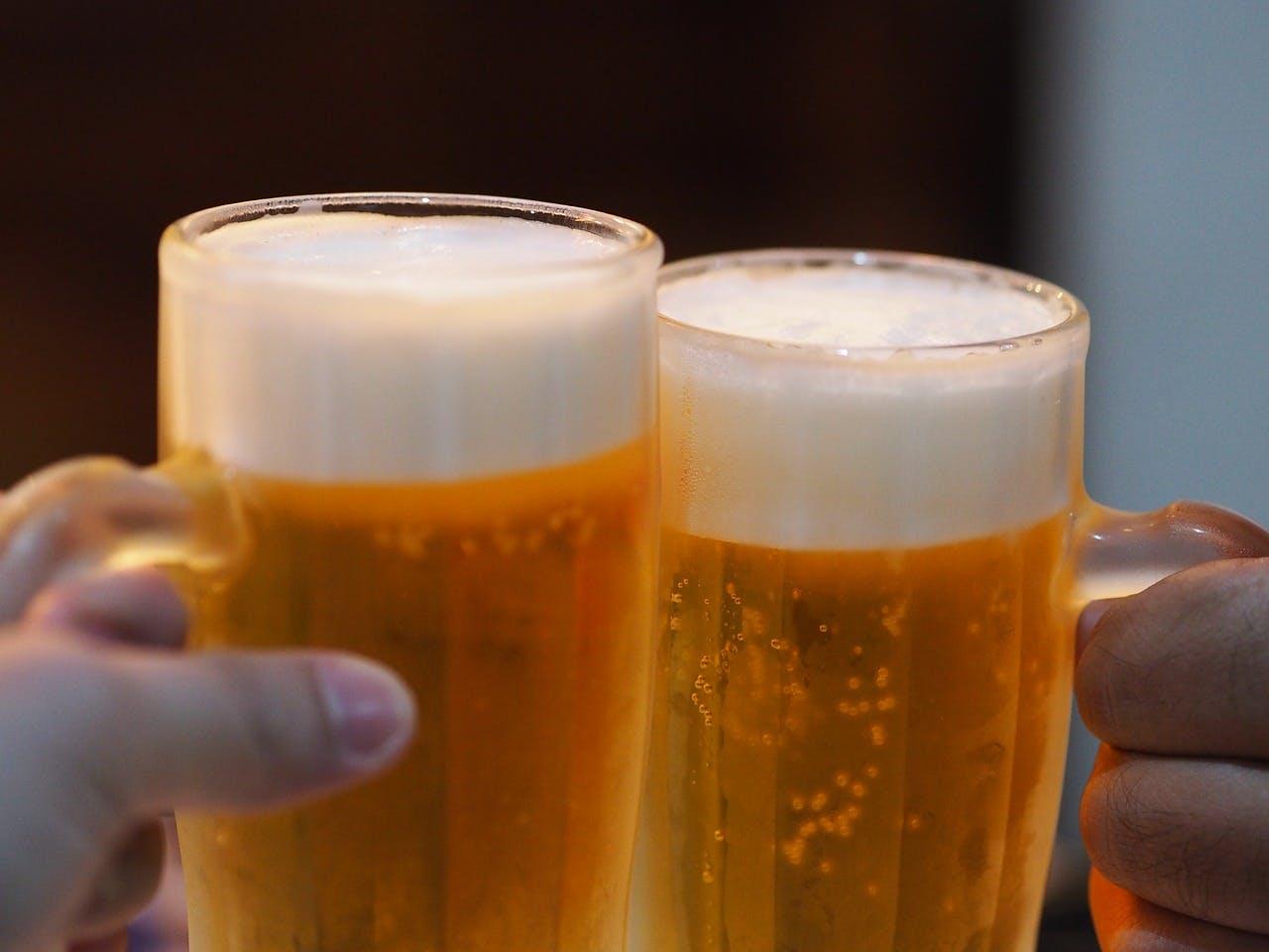 Two People having Beers