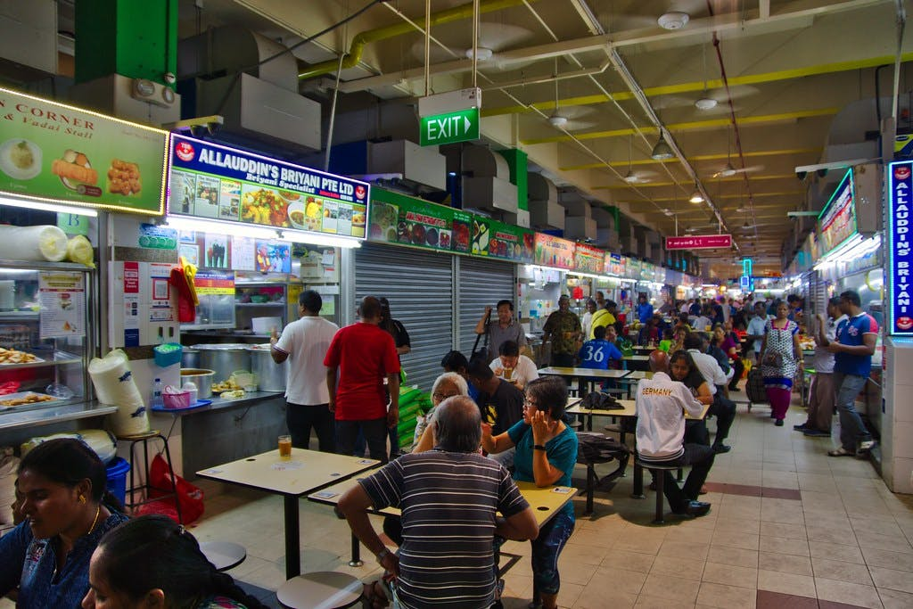 Food court at the Tekka Centre in Little India Singapore