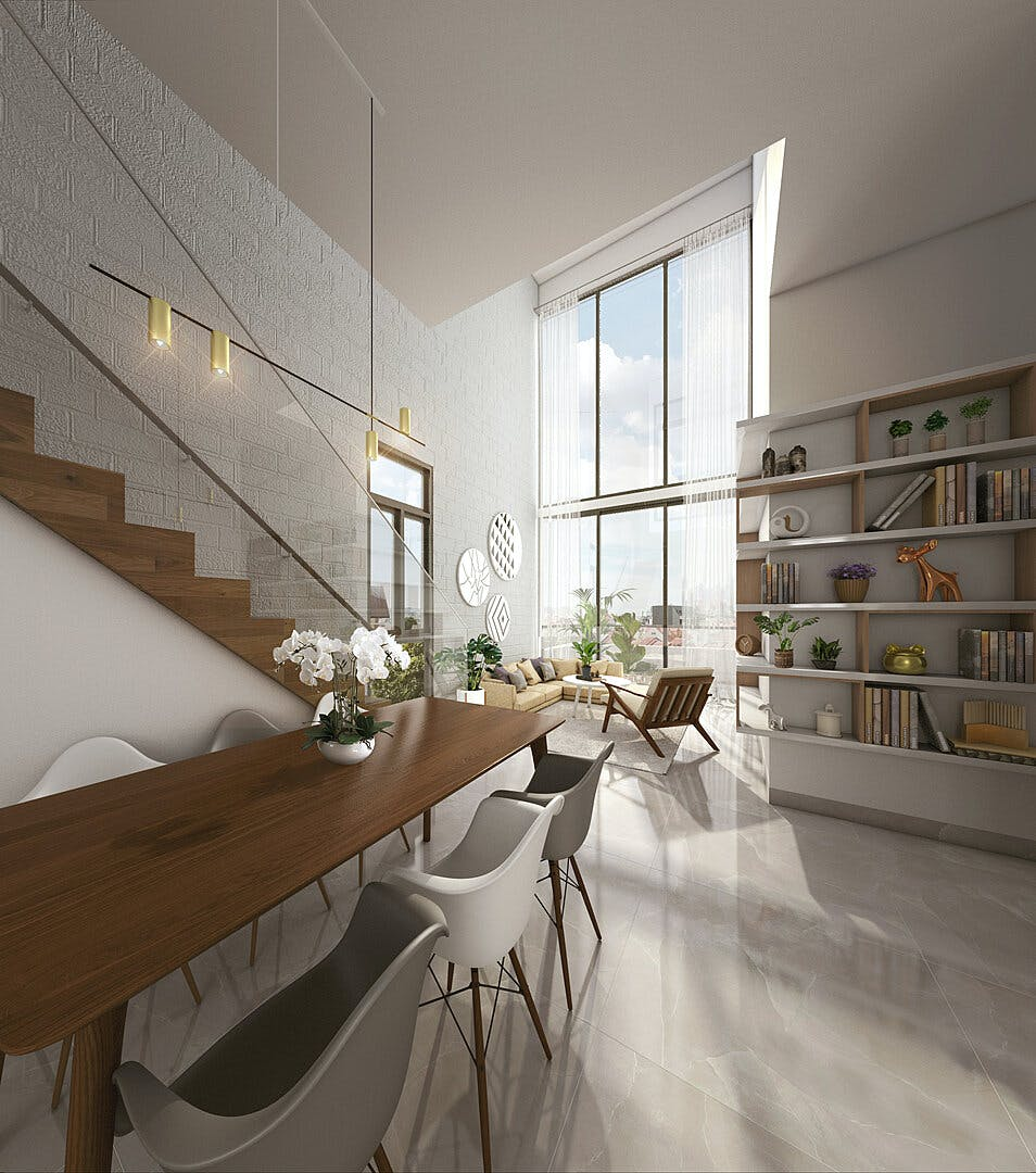 Artist impression of the spacious living area