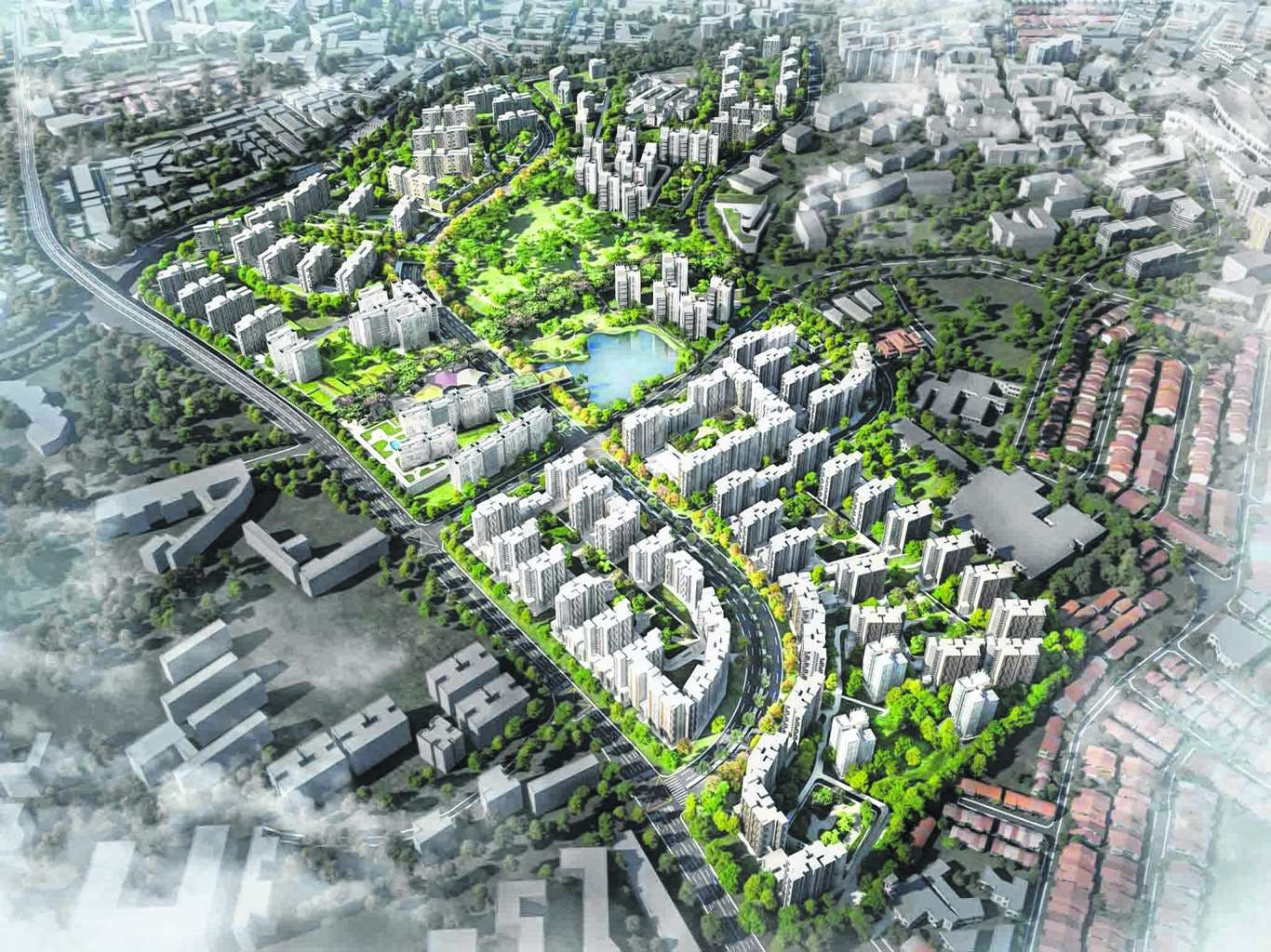 An artist's birds eye view impression of the Bidadari New Town.