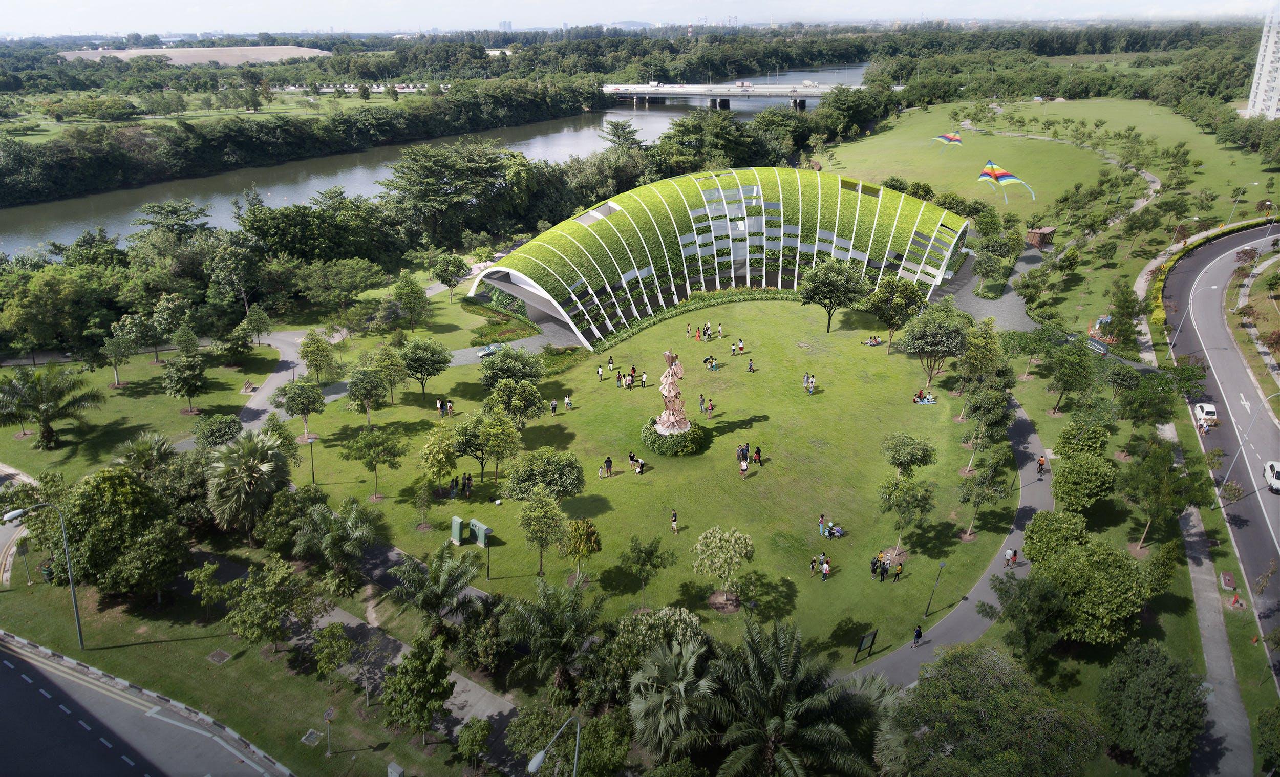 A top-down shot of the serene Sengkang Riverside Park
