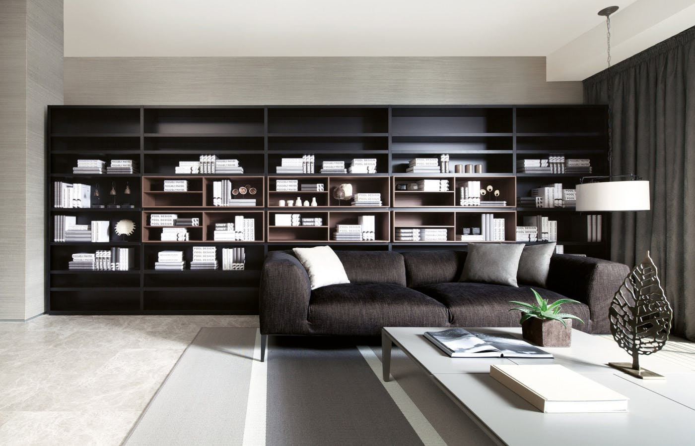 The sleek, posh, and simplistic black-themed interior of a home at 19 Nassim.
