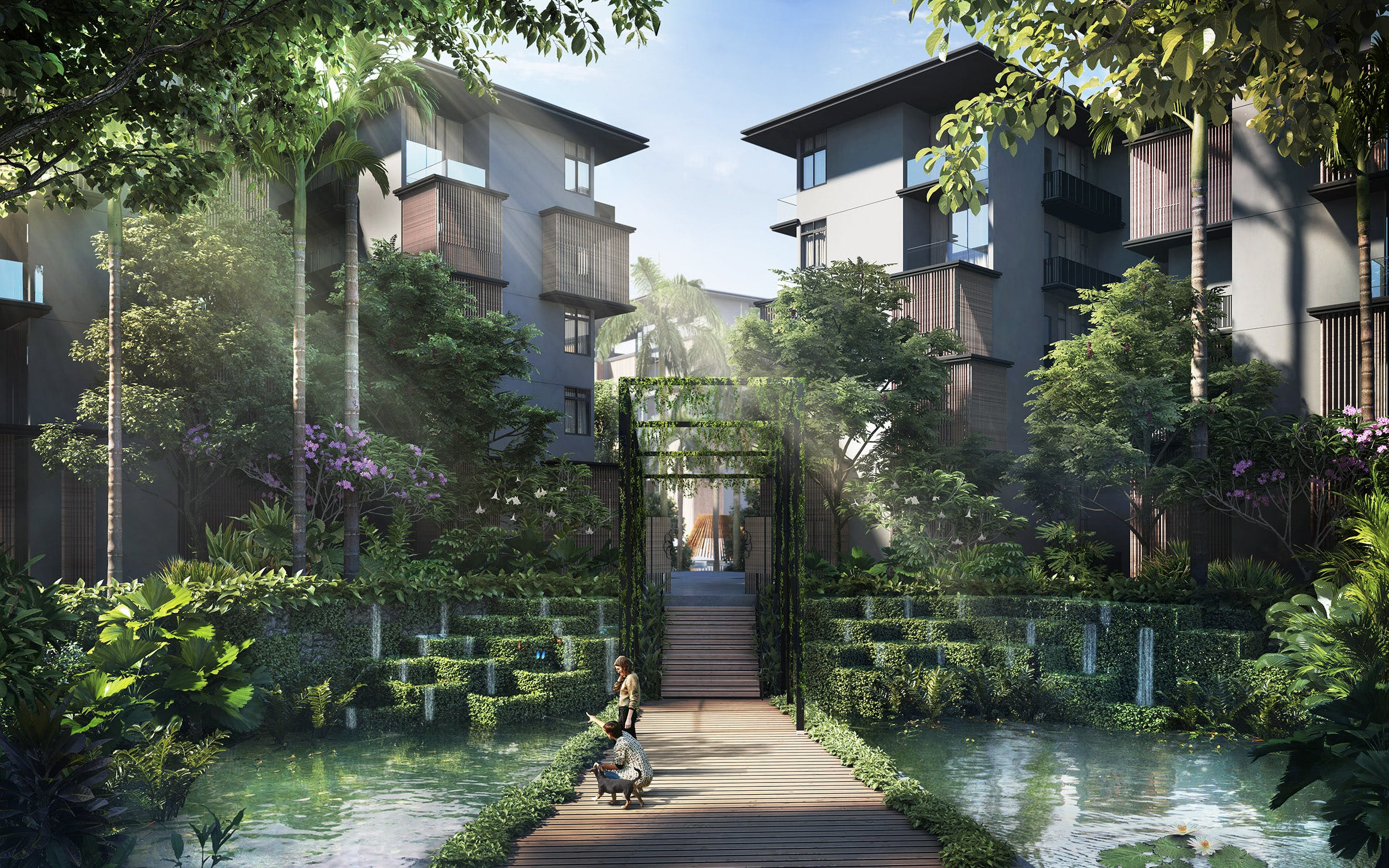 Artists' impression of the lush greenery within Parc Komo