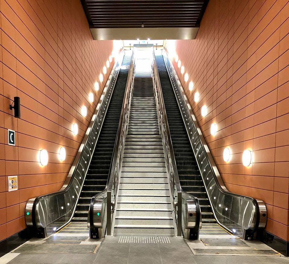 Stevens MRT Station escalator