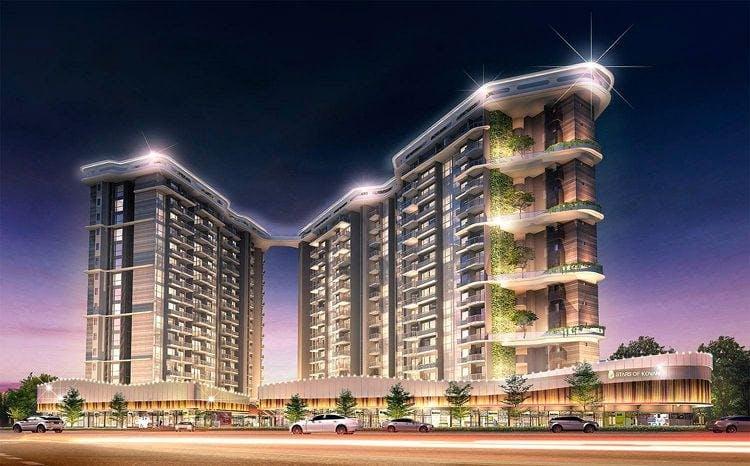 Stars of Kovan condominium glistens at night in an atrtist's impression