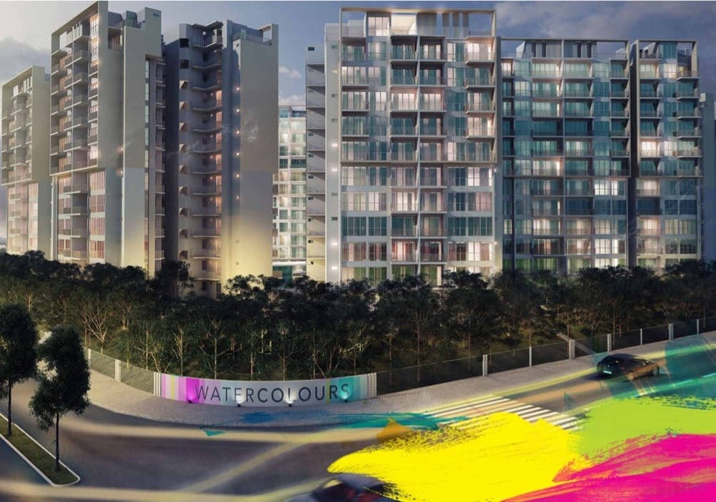 A stylised interpretation of the art-inspired Watercolours EC at Pasir Ris Link
