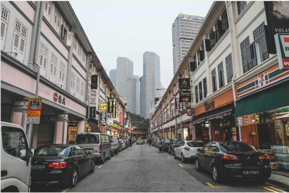 Row of Shophouses located in one of the many streets in the Bugis Neighbourhood that features a 7-eleven and many other food eateries