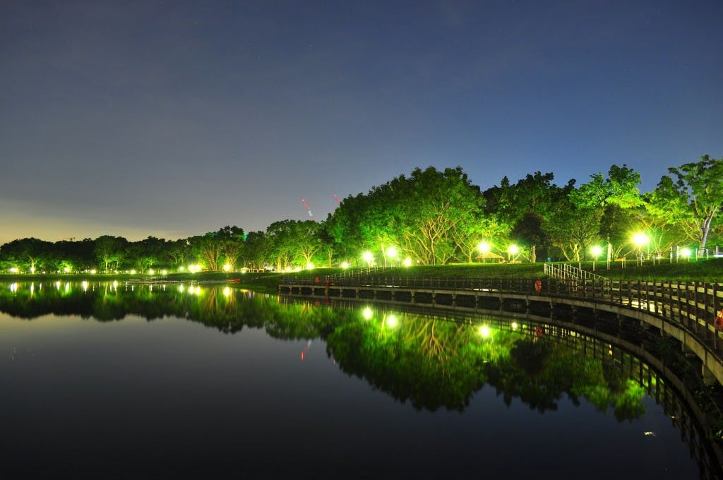 Bedok Reservoir Park in the evening