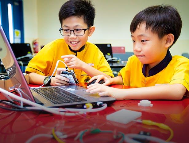 Students practising digital skills at North VIsta Primary School