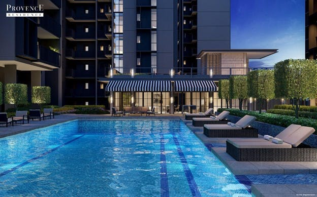 Artist's Impression of the luxurious swimming pool and clubhouse at Provence Residence EC.
