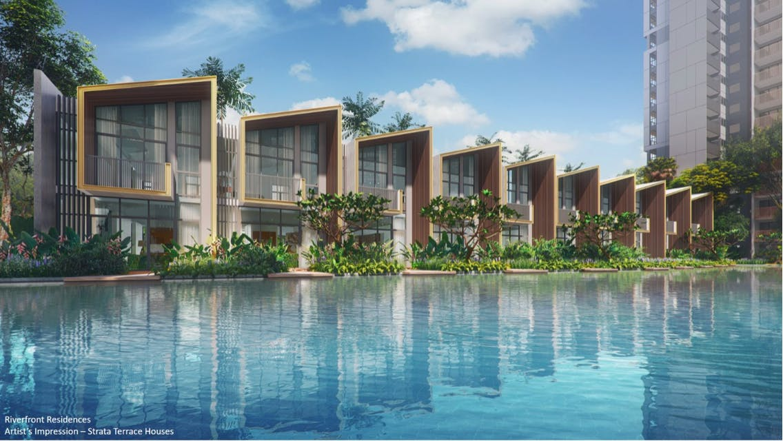 Artist's impression of Riverfront Residences featuring the pool