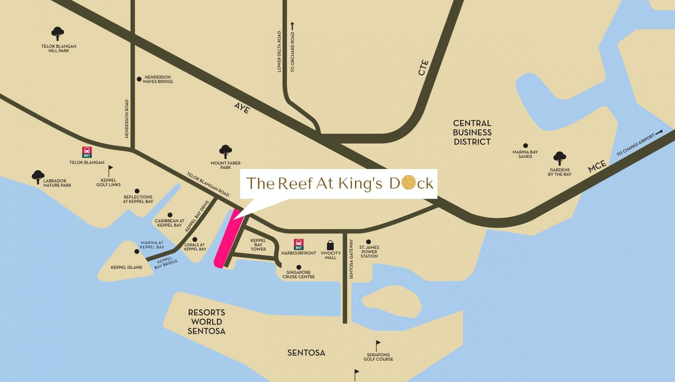 The Reef at King's Dock is mere minutes away on foot to major shopping centres and Harbourfront MRT Station. It is also conveniently serviced by many major highways.