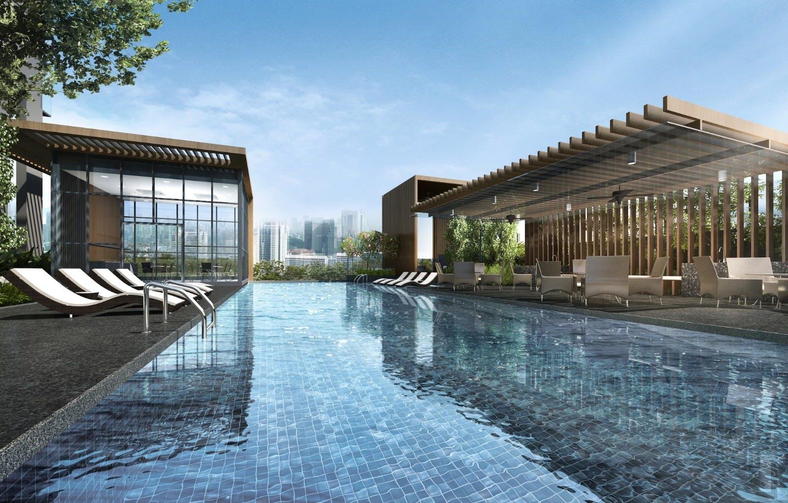 Exquisite pool view at Verticus