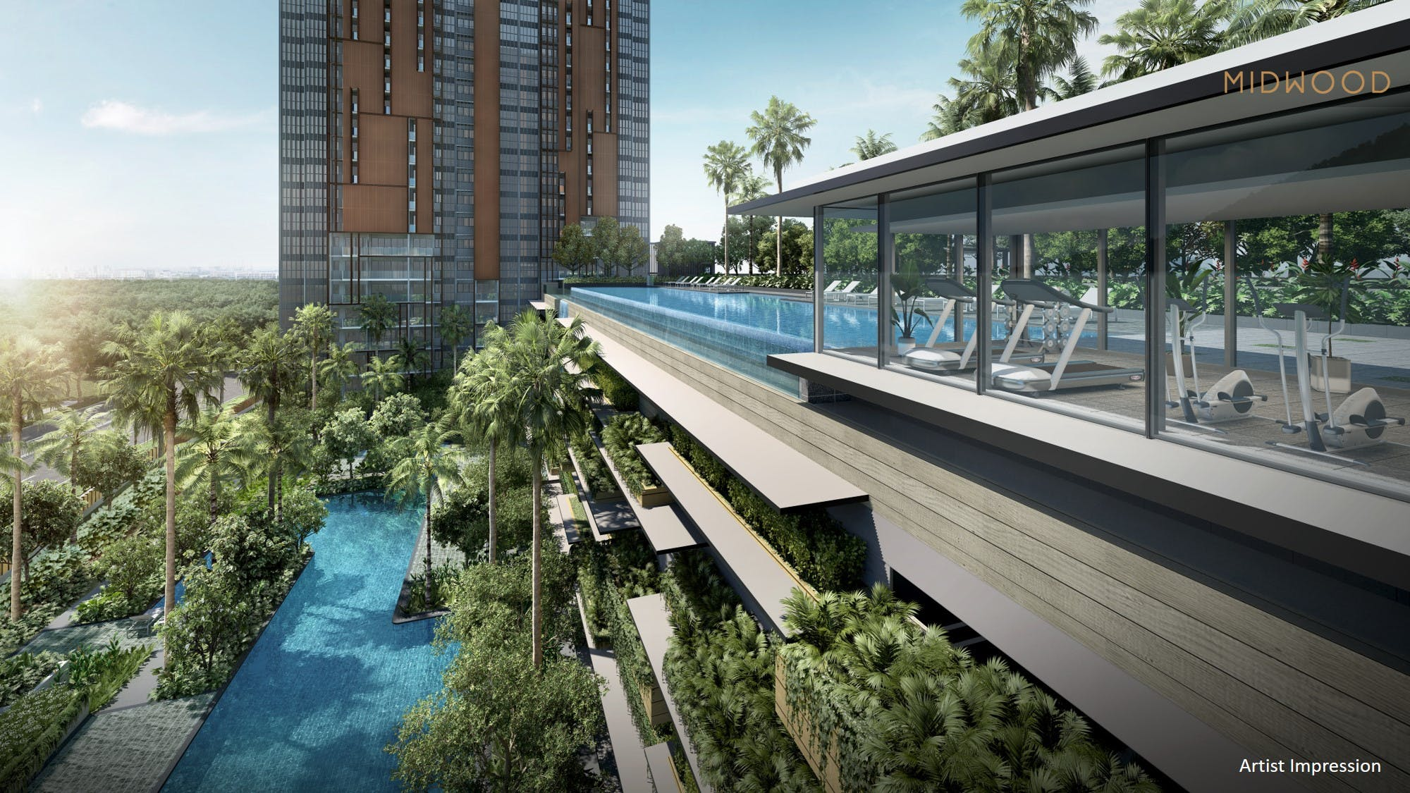 An artist's impression of the serene pool, framed by Midwood's angular architecture.