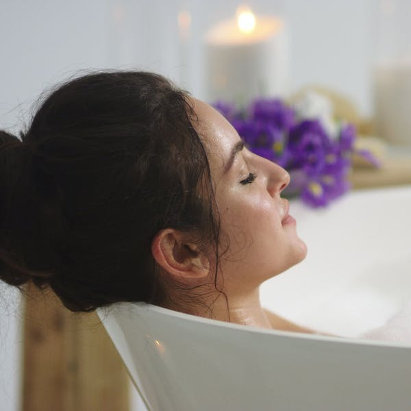 woman on her bath