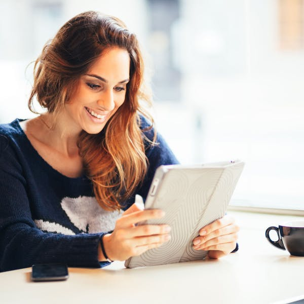 woman with her tablet