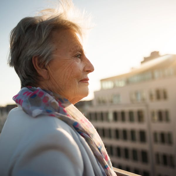 old person looks at the horizon