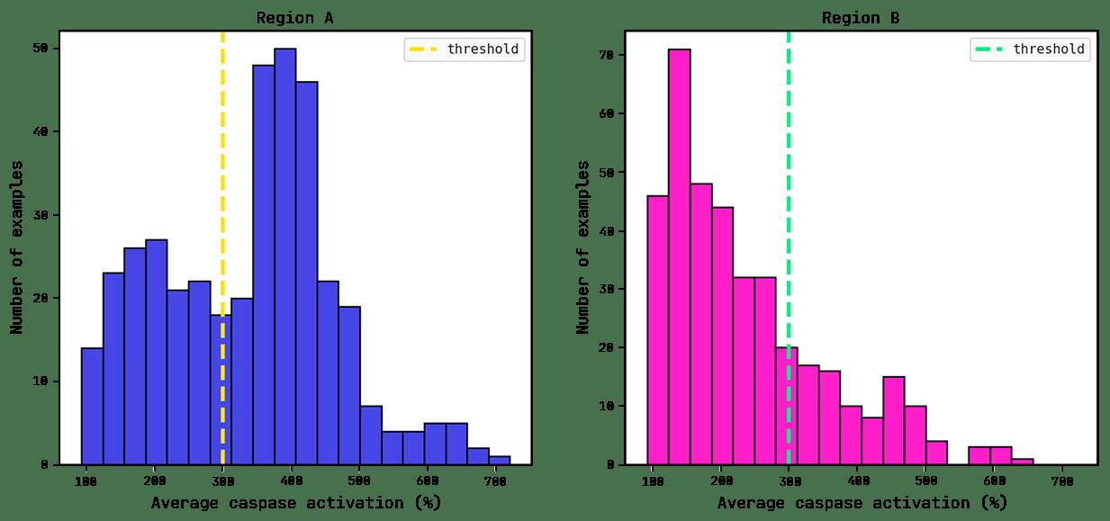 Average caspase distributions for each region.