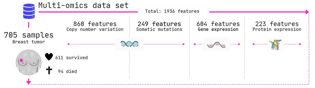 In total we have 1936 features (columns in the data) across 4 omics types.