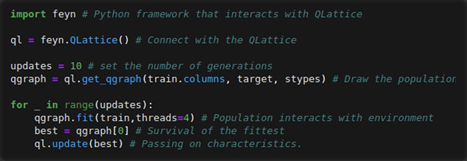 Training loop in Python code