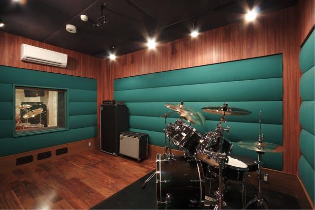 drum set up in a studio