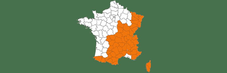 Carte de la France où les pneus neige peuvent être obligatoires