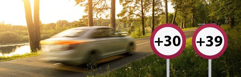 Excès de vitesse entre 30 et 40 km/h