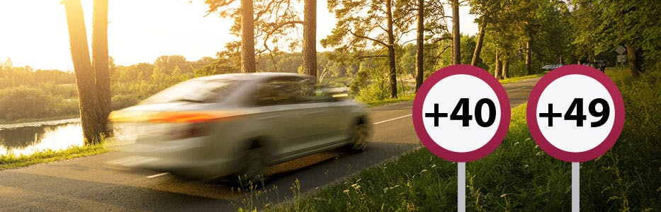 Excès de vitesse entre 40 et 50 km/h