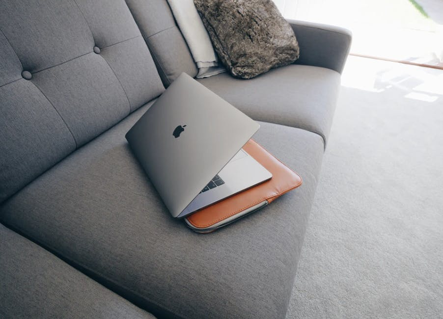 Laptop on a sofa