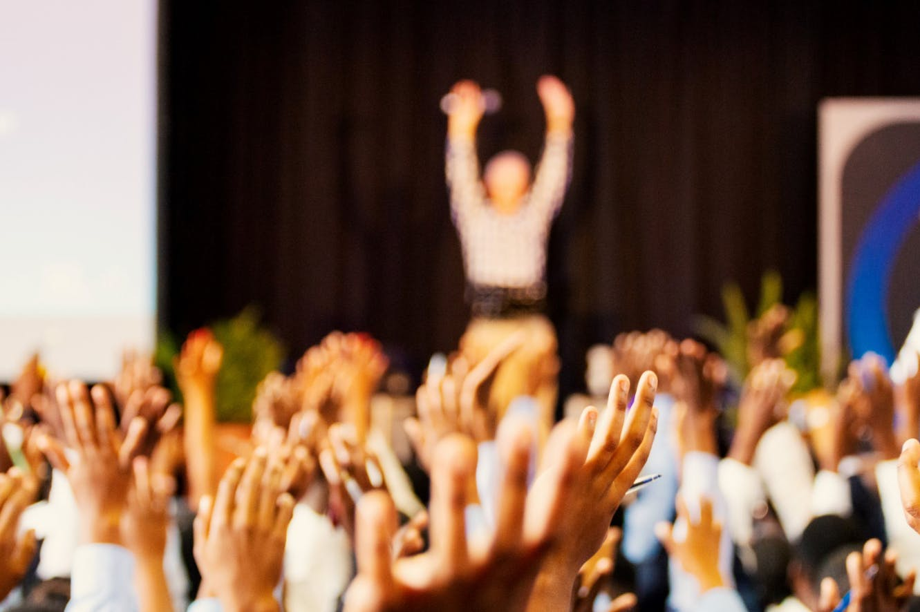 Hands up during a conference