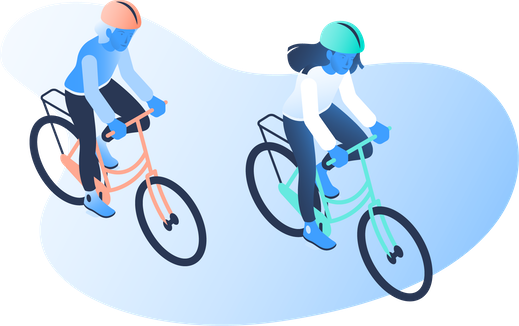 An illustration of two people riding their bikes.