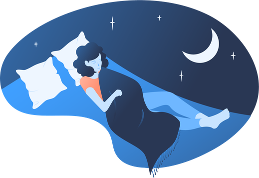 An illustration of a woman sleeping under the moon.