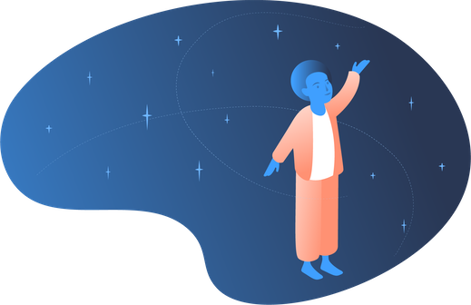 An illustration of a person meditating with stars in the background.
