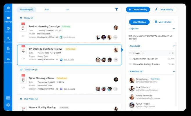 Teams upcoming meetings page