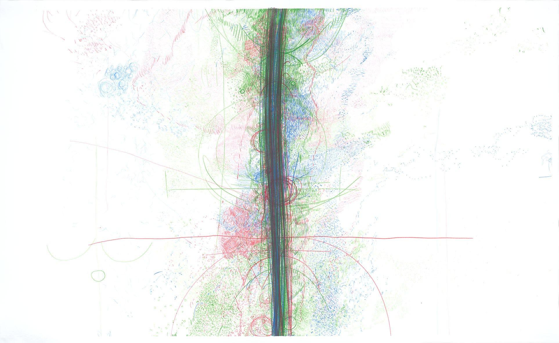 Palinopsia (facsimile) 2018–2019 Coloured Caran d'Ache Luminance pencils on Fabriano Artistico paper, 164×100cm
