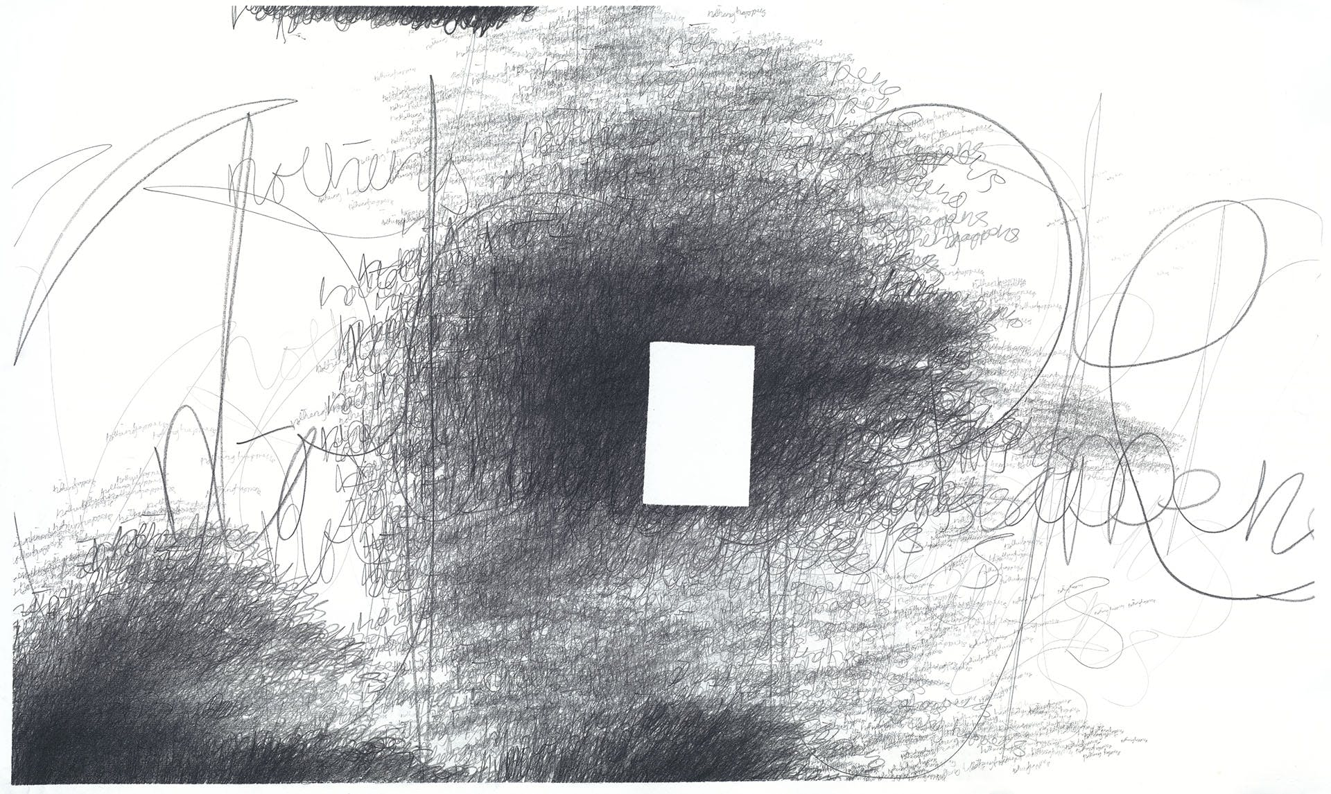 Nothing Happens (darkness drawing) 2018–2019 9B graphite crayon and 2B graphite pencil on Fabriano Artistico paper, 164×98cm