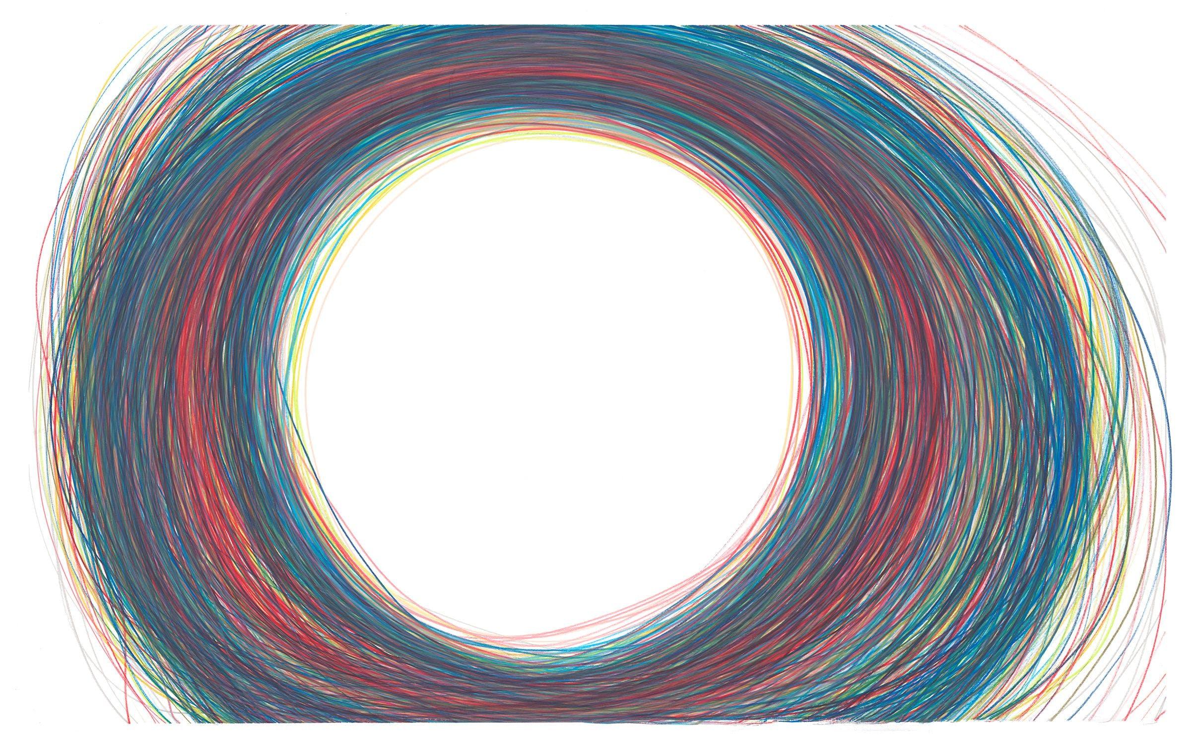 13 coloured pencils to dust (facsimile) 2018–2019 Coloured Caran d'Ache Luminance pencils on Fabriano Artistico paper, 161×99cm