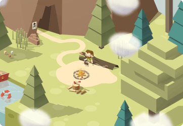 Cave entrance with clouds and trees. The protagonist is sitting in a tree watching a fire pit